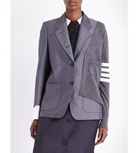Thom Browne Deconstructed Wool And Cashmere Blazer Med Grey