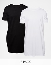Asos Super Longline T Shirt With Crew Neck And Relaxed Skater Fit 2 Pack Save 17 Whiteblack