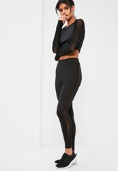 Missguided Active Black Mesh Side Panel Sports Leggings