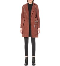 Allsaints Chiltern Suede Trench Coat Brick Brown