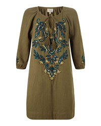 East Lamisa Embroidered Tunic Khaki