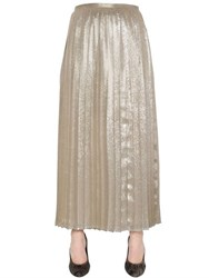 Max Mara Pleated Silk Blend Georgette Lame Skirt
