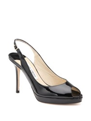 Jimmy Choo Nova Patent Leather Slingbacks Nude Black