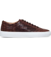 Kurt Geiger Percival Croc Embossed Leather Low Top Trainers Tan