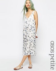 Asos Petite Dungaree Style Midi Slip Dress In Digital Floral Print Multi