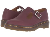 Dr. Martens Polley T Bar Mary Jane Cherry Red Virginia Women's Maryjane Shoes Brown