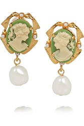 Dolce And Gabbana Cameo Gold Plated Faux Pearl And Resin Clip Earrings