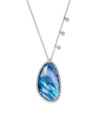 Meira T 14K White Gold Blue Sapphire And Moonstone Doublet Necklace With Diamonds 16 Blue White