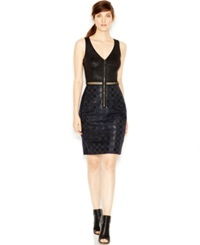 Rachel Rachel Roy Faux Leather Detail Cutout Combo Dress Blue Combo