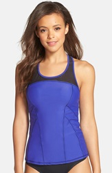 Zella Mesh Inset Racerback Tankini Purple Flash