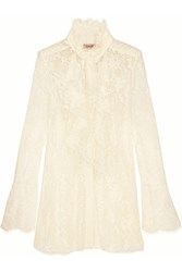 Lanvin Ruffled Lace Blouse Ivory