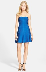 Herve Leger Strapless Bandage Fit And Flare Dress Lapis