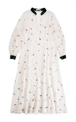 Ksenia Schnaider Cherry Print Peasant Sleeve Maxi Dress White