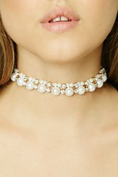 Forever 21 Faux Pearl Ribbon Choker Cream Black