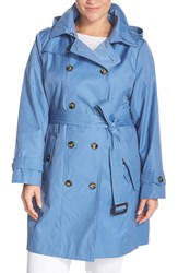 London Fog Plus Size Women's Double Breasted Trench Coat With Detachable Hood Oxford Blue