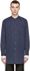 3.1 Phillip Lim Navy Poplin Pinstriped Shirt