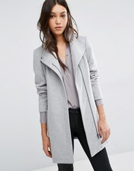 Vero Moda Belted Funnel Neck Wool Coat Light Grey Marl