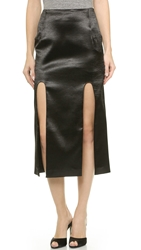 Karla Spetic Longer Midi Hi Split Skirt Black