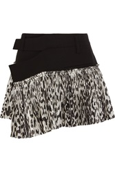 Haider Ackermann Stretch Wool And Leopard Print Silk Blend Wrap Mini Skirt