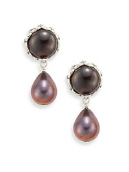 Stephen Dweck Verona 8Mm Round Pearl Garnet And Sterling Silver Drop Earrings Rose