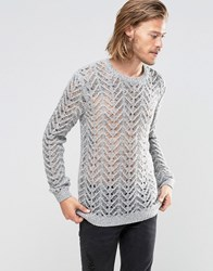 Asos Jumper In Knitted Lace Effect Grey