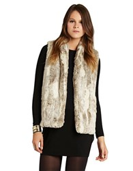 Bcbgeneration Shawl Collar Faux Fur Vest Tan Combo