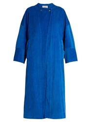 Rachel Comey Collarless Cotton Corduroy Coat Blue