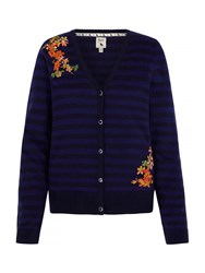 Yumi Stripe Cardigan With Floral Embroidery Navy