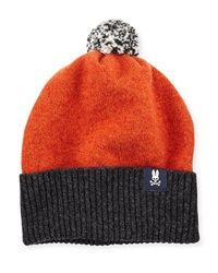 Psycho Bunny Two Tone Pompom Hat Orange