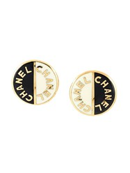 Chanel Vintage Logo Disc Clip On Earrings Black