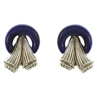Eclectica Vintage 1960S Trifari Chrome Plated Resin Art Deco Clip On Earrings Silver Navy