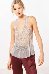 Kimchi And Blue Alexis Beaded Mesh Tank Top Grey