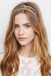 Forever 21 Embroidered Floral Headwrap Black Orange