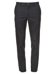 Dolce And Gabbana Slim Leg Wool Cotton Blend Trousers Grey Multi