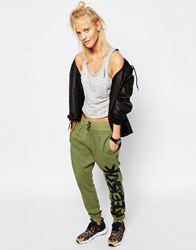 Reebok Drop Crotch Sweatpants In Side Graffiti Logo Print Canopy Green S16 R