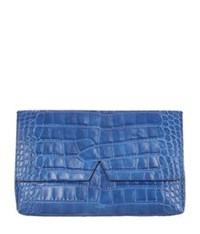 Vince Signature Croc Clutch Bag Cobalt