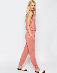 Asos Jersey Jumpsuit With Button Detail And Tie Waist Salmon Pink