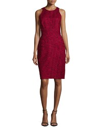 J. Mendel Sleeveless Floral Print Sheath Dress Maroon Red
