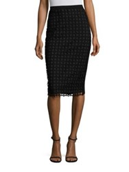Lela Rose Lace Front Knit Pencil Skirt Black