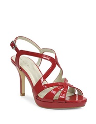 Tahari Balthasar Patent Leather Strappy Peep Toe Sandals Flag Red