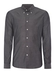 Religion Resent Slim Fit Chambray Dobby Long Sleeve Shirt Grey