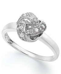 Macy's Diamond Love Knot Ring In Sterling Silver 1 10 Ct. T.W.