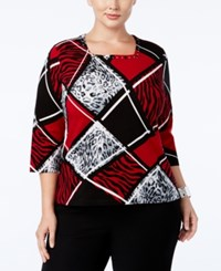 Alfred Dunner Plus Size Wrap It Up Collection Embellished Colorblocked Blouse Multi