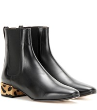Francesco Russo Calf Hair Embellished Leather Chelsea Boots Black