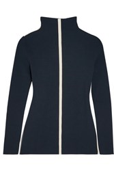 Cedric Charlier Canvas Trimmed Ribbed Wool Blend Turtleneck Sweater Navy
