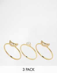 Orelia Crystal Layered Ring Pack Pale Gold