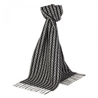 Johnstons Of Elgin Black White Monochrome Fancy Stripe Scarf