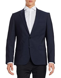 Hugo Wool Two Button Suit Jacket Blue
