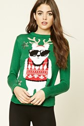 Forever 21 Holiday Polar Bear Sweater Green Cream