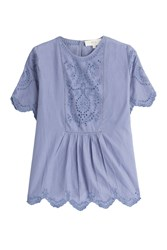Vanessa Bruno Athe Cotton Top With Embroidery Blue